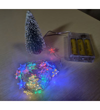 Гирлянды звездочки 3м цветные RGB на батарейках