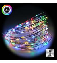 Гирлянда нить Роса от USB 10м 100LED, разноцветная