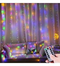 Гирлянда штора 3*3м с пультом USB цветная RGB