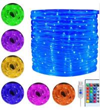 Уличная гирлянда разноцветная в трубке 10 м LED 100 с пультом