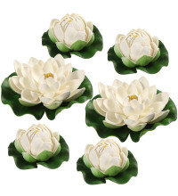 Искусственные лилии для пруда белые 6 шт