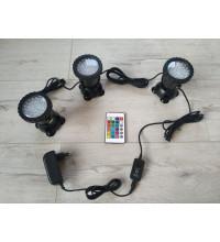 Светильники для пруда RGB 3 штуки разноцветные с пультом